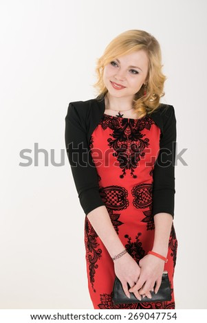 elegant girl graduate. on a white background. Elegant Lady in Red Prom Dress