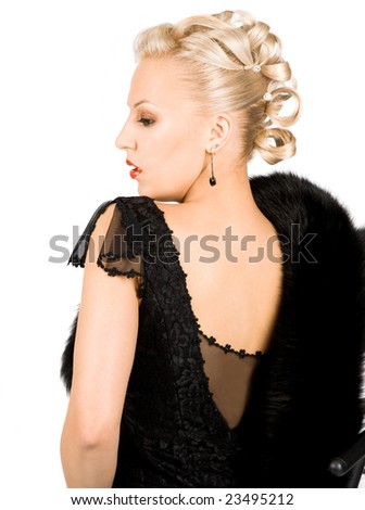 elegant girl with fur isolated on white