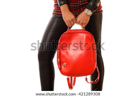 Elegant glamor lady with red bag isolate on white