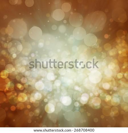 elegant gold background, white bokeh lights. glittering silver gold balls - stock photo