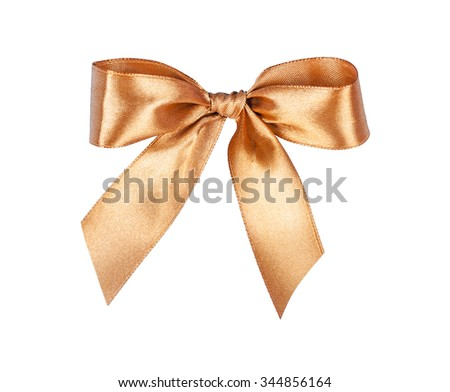 Elegant gold, beige gift ribbon bow, satin, isolated on white - stock photo