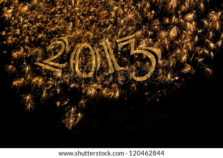 Elegant 2013 gold numbers and fireworks for sophisticated formal banner, poster, card or party invitation for New Year's Eve. Shrinks to 5x7. Also available Happy New Year and Feliz A�±o Nuevo. - stock photo
