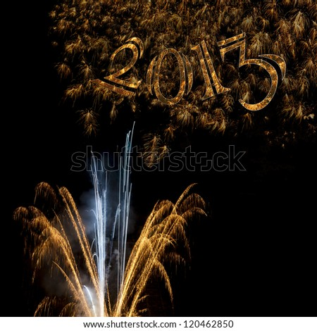 Elegant 2013 gold numbers and fireworks for sophisticated formal banner, poster, card or party invitation for New Year's Day or New Year's Eve. Also available as rectangle  for 5x7 greeting card. - stock photo
