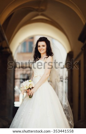 elegant gorgeous happy bride standing on the background of a old building in Lviv