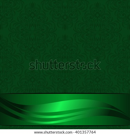 Elegant green ornamental Background decorated the beautiful Ribbon with Place for your Information. Raster version. - stock photo