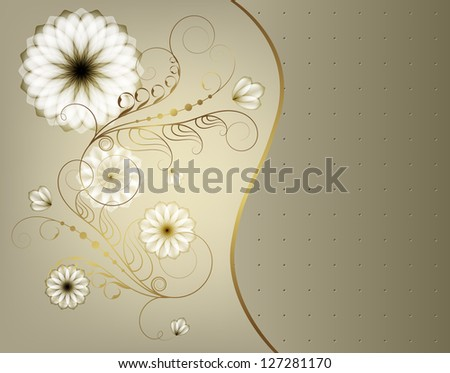 Elegant greeting card with flowers and gold monograms. Raster copy of vector image - stock photo