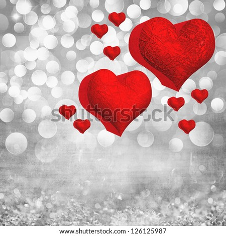 Elegant Grunge Silver, Gold, Purple, Pink, Red Valentines Heart Light Bokeh & Crystal Vintage Texture Background