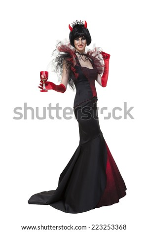 Elegant halloween party devil costume in black and red, on white background - stock photo