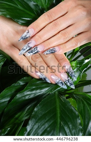 elegant hand with a nice manicure. original drawing on nails . beautiful composition