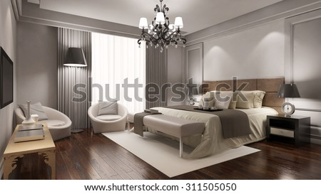 Elegant hotel room suite with double bed and other furniture (3D Rendering) - stock photo
