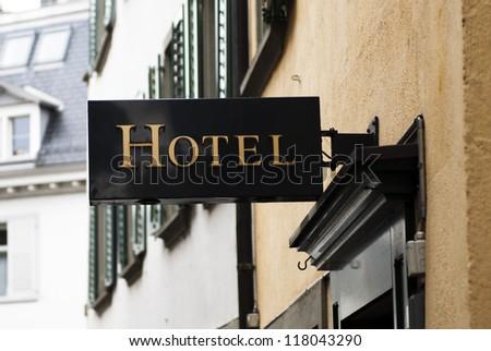 Elegant  hotel sign in Paris - stock photo