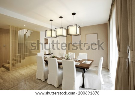 Elegant house interiors, Dining Room - stock photo
