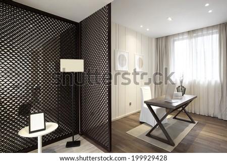 Elegant house interiors,Study room - stock photo
