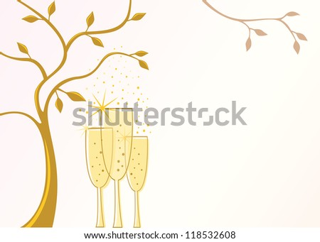 Elegant invitation template with champagne glasses and space for text