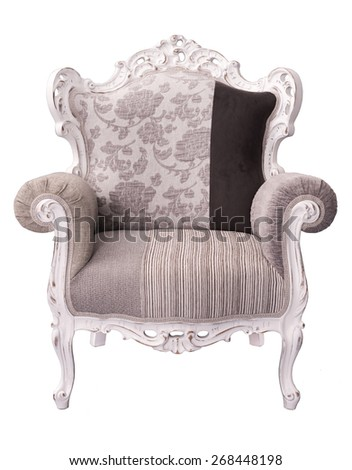 elegant ivory gray and brown sitting chair with beautiful framework isolated on a white background