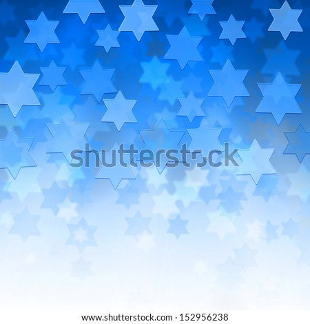 elegant jewish background with Magen David stars and place for text - stock photo