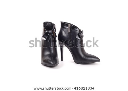 elegant leather ankle boots closeup - stock photo