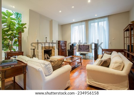 Elegant living room with fireplace in luxury house - stock photo