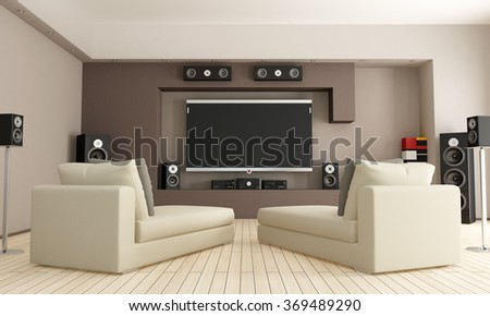 Elegant Living Room With Home Cinema D Rendering