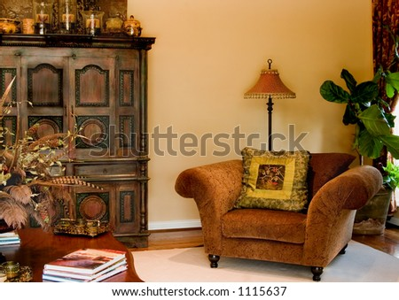 Elegant living room with window light - stock photo