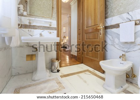 Elegant luxury bathroom interior - stock photo