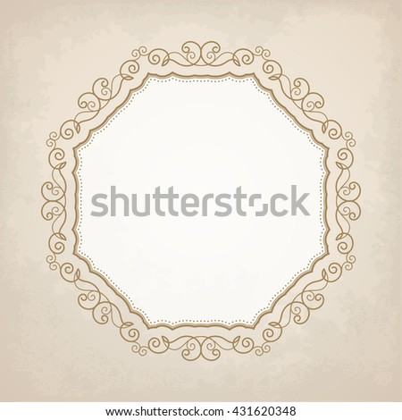 Elegant luxury vintage calligraphy frame. Template for greeting card, invitation, diploma. Illustration in retro style