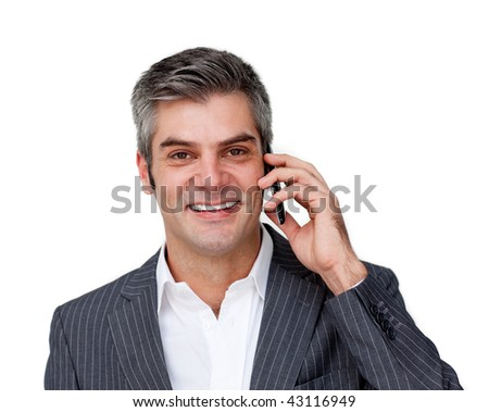 Elegant male executive on phone against a white background