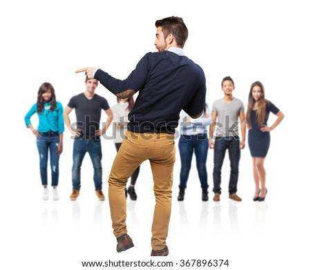 elegant man full body dancing - stock photo