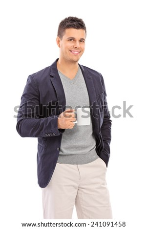 Elegant man holding a coffee mug isolated on white background - stock photo