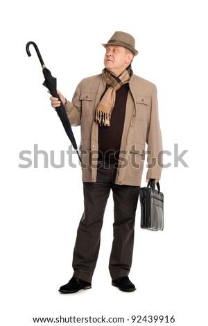 Elegant man in the autumn clothes. - stock photo