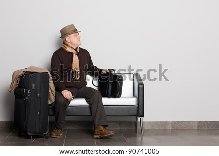 Elegant man in the waiting hall.