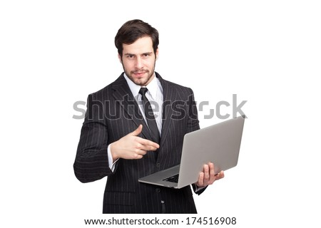 elegant man showing his laptop, isolated