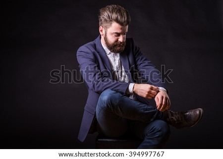 elegant man with beard, homogeneous