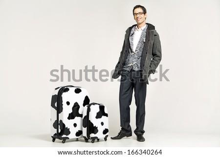 Elegant man with suitcase - stock photo