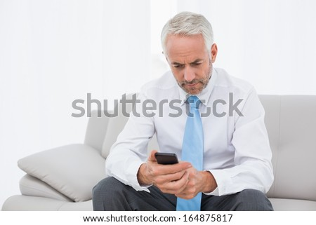 Elegant mature businessman text messaging on sofa in living room at home