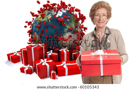 Elegant mature lady holding a present against a background of gift boxes and the Earth