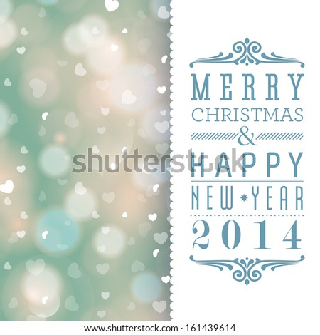 Elegant Merry Christmas and Happy New Year card design. Perfect as invitation or announcement. - stock photo