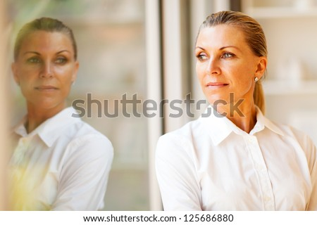 elegant middle aged businesswoman standing by office window - stock photo