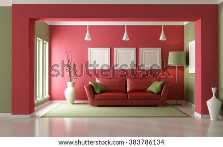 Elegant Modern Living Room With Red Sofa   3D Rendering Part 88