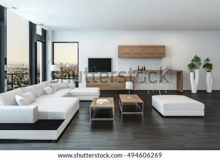 Elegant Modern White Living Room Interior With Back Accents And Stone Floor  Furnished With Modular Units