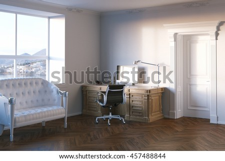 Elegant office cabinet with sea view window. 3d render.