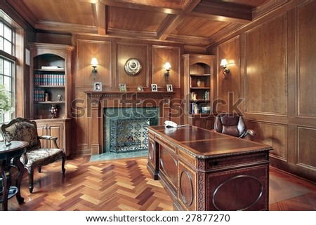 Elegant office in luxury home - stock photo
