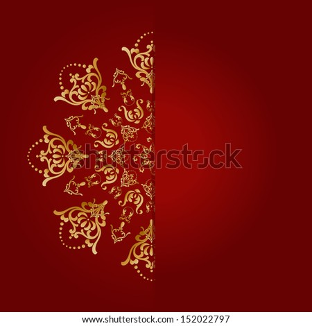 elegant oriental style red background with golden round lace pattern, for invitation or greeting card, raster version of vector illustration