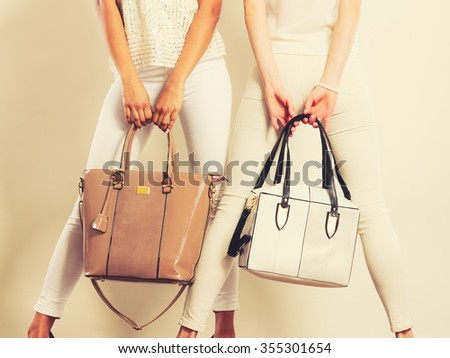 Elegant outfit. Female fashion. Two women in fashionable clothes with bags handbags. Toned image - stock photo