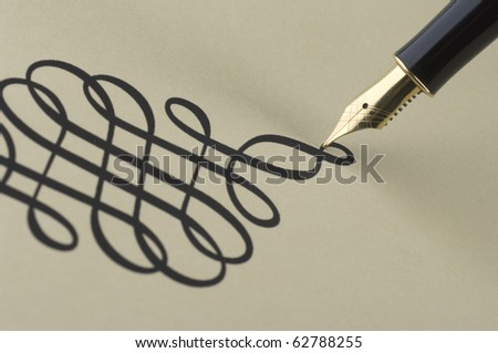 Elegant pattern wtitten by gold pen - stock photo