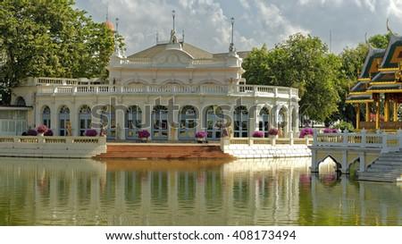 Elegant pavilion on the grounds of the royal Bang Pa-In summer palace near Ayutthaya, Thailand - stock photo
