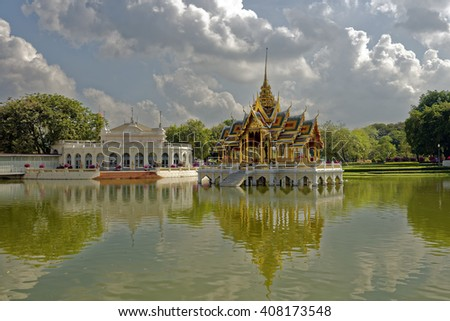 Elegant pavilions in the grounds of the Bang Pa-In summer royal palace near Ayutthaya, Thailand - stock photo