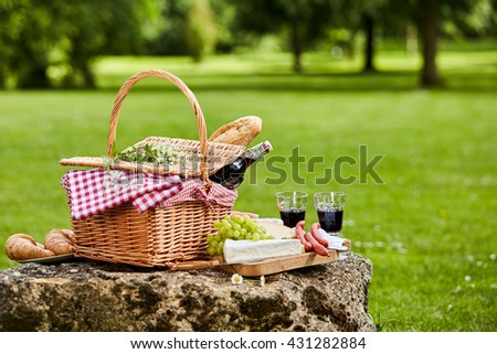 Elegant picnic with red wine, fresh grapes, cheese, baguette and sausages arranged on a rustic stone table in a lush green spring or summer park, with copy space