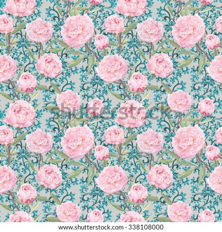 Elegant pink peony flowers. Floral repeating pattern with ornate lace decor. Watercolor - stock photo