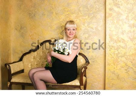 elegant pregnant woman - stock photo